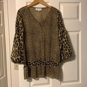 JONES NY SPORT / leopard button blouse